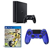PlayStation 4 Slim (PS4) - Consola de 500 GB + FIFA 17 - Standard Edition + Sony - Controlador Dualshock 4 V2, Color Wave Blue