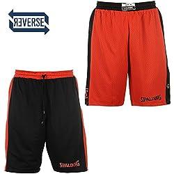 Spalding Reversible Pantalones Cortos De Baloncesto Deportes Hombre Pantalones cortos Pantalón corto deportivo para hombre, Hombre, color rojo, negro, tamaño XS