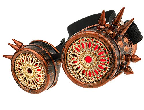 MFAZ Morefaz Ltd Welding Cyber Goggles Schutzbrille Schweißen Sonnenbrille Steampunk Goth Round Cosplay Brille Party Fancy Dress (Copper Spikes Design)