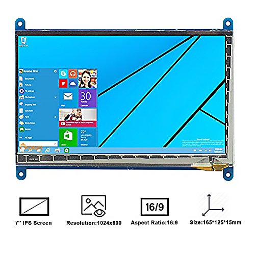 Makibes 7 Zoll kapazitiver Touch Screen LCD 1024 × 600 HDMI Schnittstelle für Raspberry Pi / BB SCHWARZ / PC / verschiedene Systeme Touch Screen