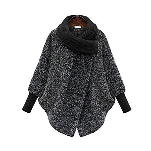 Masterein Womens Zip Long Sleeve Cocoon Coat Jacket Poncho Cape Windbreaker Outwear Gris