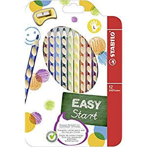 Colouring Pencil - STABILO EASYcolors Left handed Wallet of 12 Assorted Colours + Sharpener