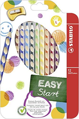 STABILO EASYcolors START - Lápiz de color ergonómico - Modelo para ZURDOS - Estuche con 12 colores y 1 sacapuntas