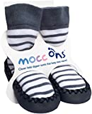 Mocc Ons Cute Moccasin Style Slipper Socks (6-12 Months, Nautical Stripe)