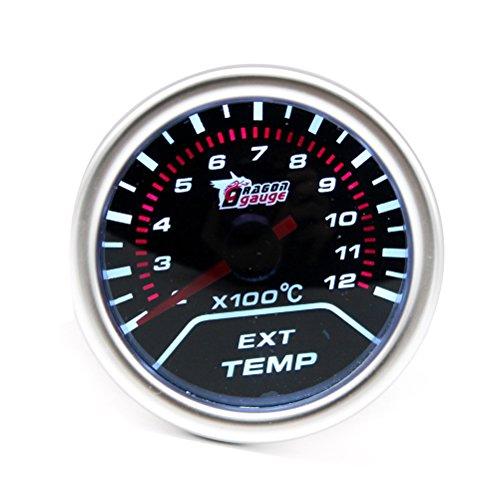 WINOMO Geändert Auto Auto Abgastemperatur EGT Spurweite 2 Zoll 52mm 12 V Rauch Objektiv Digitale Abgastemperaturanzeige Ext Temp Meter 200-1200 ℃ Silber Lünette