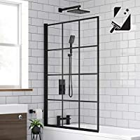 Black Designer Crittall Bath Screen Shower Enclosure 1000 x 1400mm