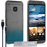 Yousave Accessories HTC One (M9) 2015Fall Raindrop Hard Cover und Micro-USB Kabel–Blau/Transparent