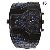 Binglinghua Herren-Armbanduhr, luxuriös, Doppeltes Japanisches Uhrwerk, Quarzuhrwerk, Militär-Stil, breites Armband, großes Zifferblatt, Schwarz