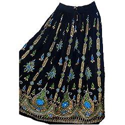 Señora de las mujeres coloridas Indian Boho Hippie Gypsy Sequin Verano Sundress Maxi Belly Dance Falda (VERDE NEGRO)