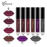 Gaddrt NICEFACE 6PCS neue Art- und Weisewasserfester Mattflüssiger Lippenstift-kosmetischer reizvoller Lippenglanz-Installationssatz (E)
