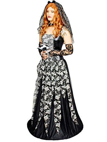 für Damen | 36/38 | 4-teiliges Schwarze Witwe Kostüm | Zauberin Faschingskostüm für Frauen | Märchenkostüm für Karneval (Die Schwarze Witwe Kostüm)