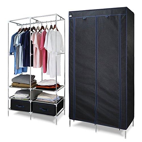Große Doppel-tür (FINETHER Faltschrank 170 x 87 x 45cm Stoffschrank Textilschrank Faltkleiderschrank Stoffkleiderschrank Textilkleiderschrank faltbarer Kleiderschrank mit Kleiderstange für Schlafzimmer Camping)