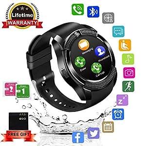montre connect e bluetooth smartwatch rond etanche avec sim tf carte ecran tactile sport. Black Bedroom Furniture Sets. Home Design Ideas