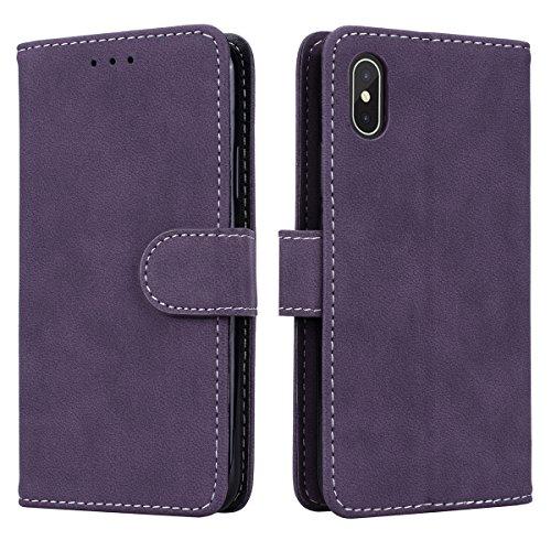 Prologfer iPhone X Hülle Lila Lederhülle Handytasche Karten Slot Case Cover Magnetverschluss Flip Bookstyle Standfunktion mit Magnet Schutzhülle für iPhone 10Handyhülle