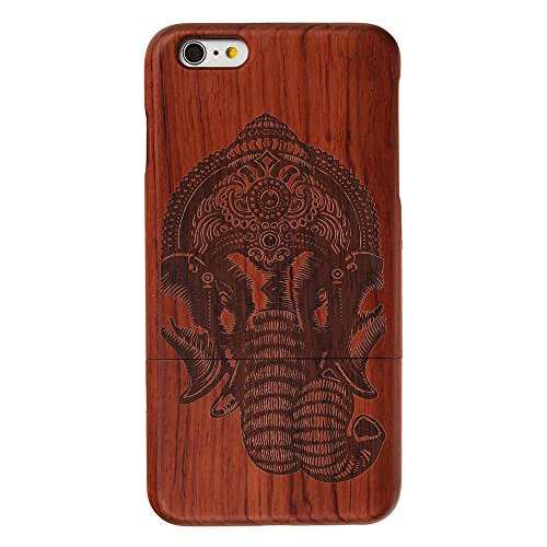 Holz Hülle für iPhone 7 Forepin® Natur Holzhülle aus Echtem Hart Bumper Cover Schutz Elegant Natürlichem Rosewood Case für iPhone 7 (4.7 Zoll) Smartphone Elefant