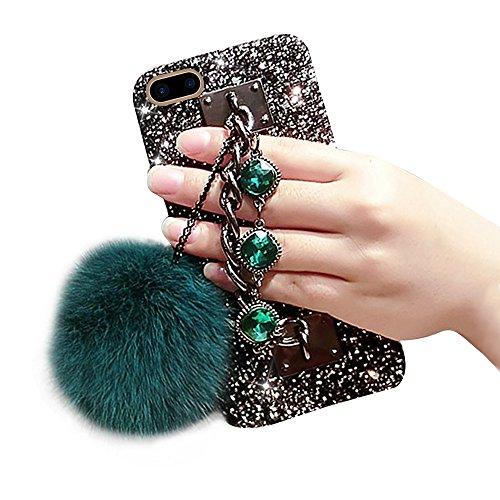 """Sunroyal Coque iPhone 7 Plus 5.5"""" Bling Rétro Case, iPhone 8 Plus Housse en PC Hard Plastique Noir Shell Rouge Gem Strass Diamant Étui avec Glitter Bracelet en gemme de luxe Porte-chaîne en Diamant Br Vert"""
