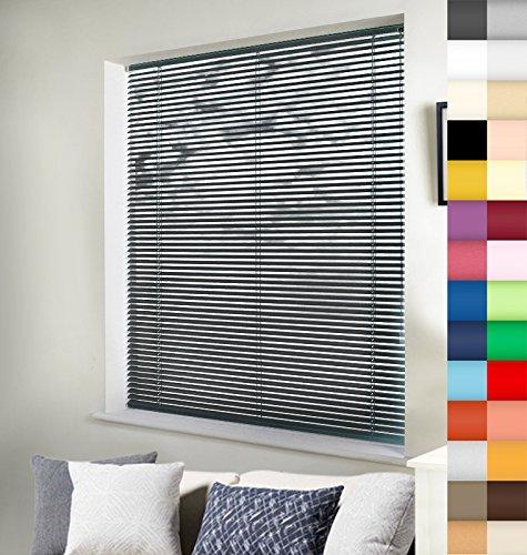 Aluminium Jalousie nach Maß, Wertarbeit, alle Größen und 28 Farben verfügbar, Maßanfertigung, für Fenster und Türen, Alu Jalousien, Decken und Wandmontage (Anthrazit, Höhe: 130cm x Breite: 45cm)