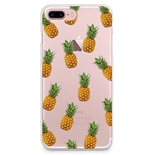 "CasesByLorraine, für iPhone 7 (4.7""), transparentes, flexibles TPU Soft Gel Back Cover | Back Case | Rückenschale | Hülle, Muster Wood Print Coral Pink Geometric Striped (G02) A01"