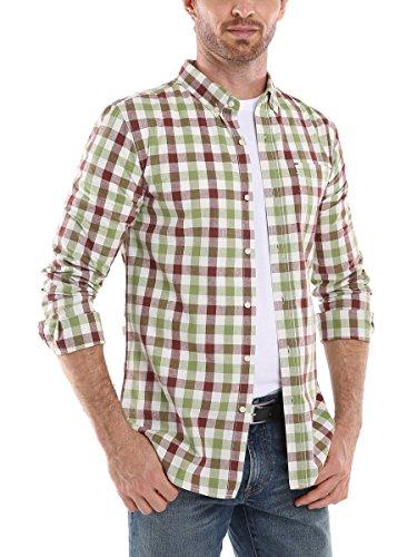 Mocotono Hemd Herren Kariertes Hemd Langarm Baumwolle Casual Hemd mit Super Qualität Kaffee-Grün Kariertes-2