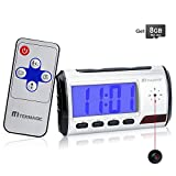 TEKMAGIC 8GB Camara Espia Oculta Reloj Despertador Digital Camaras de Vigilancia para Casa con Audio y Sensor de Movimiento Control Remoto