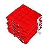 Homescapes Stuhlkissen 40x40 cm 6er Set rot Stuhlauflage mit Bändern und Knopfverschluss Bezug 100% Baumwolle mit Polyester Füllung