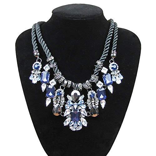 Schönheit Europa und die Vereinigten Staaten großen Schmuck/Mode Hand-Stricken Halskette/Drop Doppel Seil Anhänger/Wilde Halskette (Farbe : Blau)