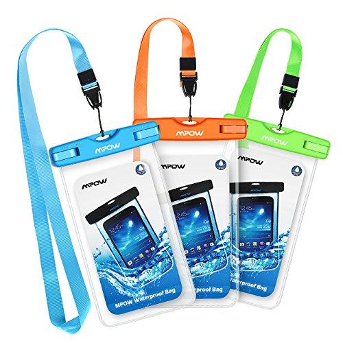 Wasserdichte Hülle, Mpow 3 Stück Wasserdichte Tasche, Handyhülle, Staubdichte Schutzhülle für iPhone X/XR/ XS/XS MAX/8/7/6splus/Galaxy S9/S8/S7/S7edge/P 0/P20/P10/P8/P9 bis 6 Zoll