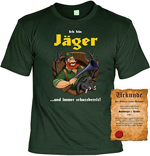 Sprüche Fun T-Shirt mit gratis Spass-Urkunde Geburtstags-Weihnachts-Vatertags-Geschenk viele tolle Jäger und Angler Motive Übergrößen 3XL 4XL 5XL grün-04