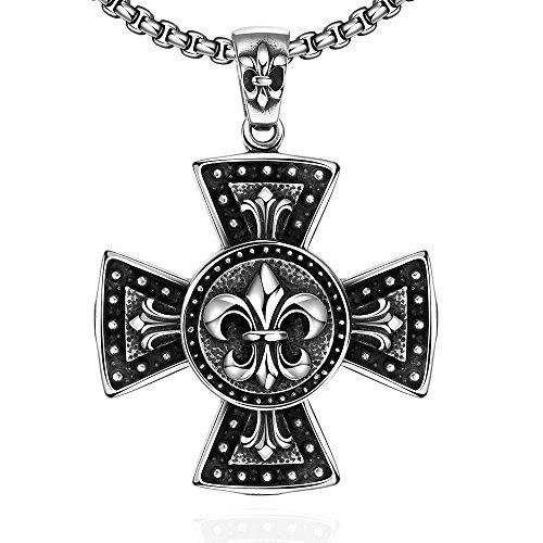 iLove EU Edelstahl Anhänger Halskette Silber Fleur de Lis Keltisch Mittelalterlich Mittelalter Kruzifix Kreuz Motorradfahrer Biker Retro Herren,mit 60cm Kette