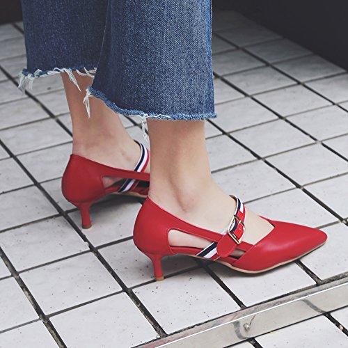 Damen Pumps Sandalen Spitze Zehen Kitten-Heel Riemchen Rutsch Rot