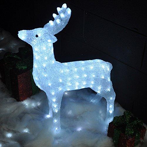 garden mile groß stehend weiß Kristalloptik glänzende Weihnachten Rentier Schlitten Polar Bär Pinguin mit Leuchtend LED Lampen,Innen Außen Garten Weihnachtsdekorationen Lichter niedrigspannung UK