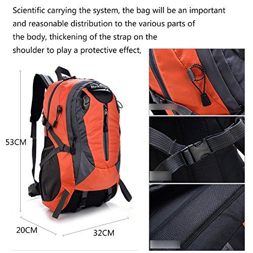 Alpinismo zaino, borsa a spalla femminile borsa da viaggio impermeabile zaino grande capacità Outdoor pacchetto alpinismo, Red Green