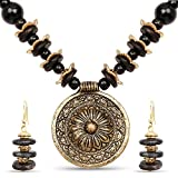 Johareez Gold Plated Tribal Style Fashion Necklace Set For Women Adorned with Black Stone