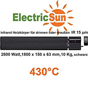 infrarotheizung 2800 watt electricsun schwarz mit thermostat elektroheizung f r drinnen oder. Black Bedroom Furniture Sets. Home Design Ideas
