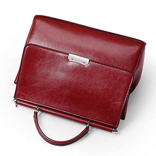 YANX La signora cera di petrolio della borsa a tracolla signora di modo della borsa di cuoio (27 * 21 * 11 cm) , viola wine red