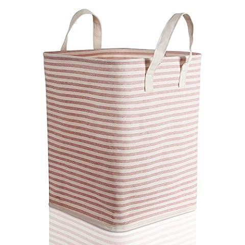 Lifewit Faltbar Wäschekorb Wäschesammler Wäschebox Laundry Taschen Haushalt Organizer Korb Wasserdicht Polyester Rund Groß Rosa/Beige