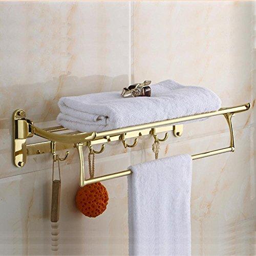 DZXYA Accessori di bagno Mensola vetro antico dorato pieghevole in