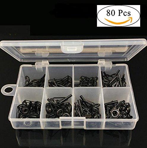 80pcs/lot anillos guía de pesca Kit de accesorios de reparación de caña de pescar (acero inoxidable y cerámica Set tuercas con caja plástico