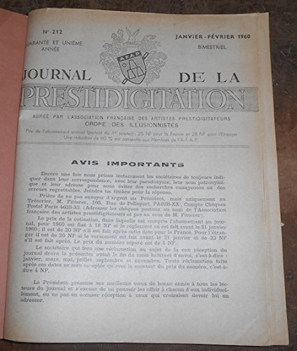 Le Journal de la Prestidigitation 1960-61