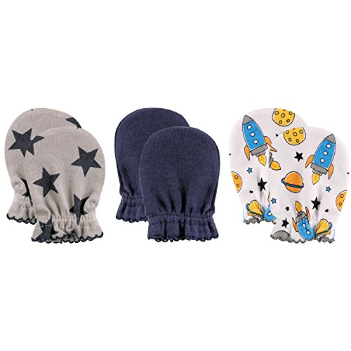 Luvable Friends 3 Pack Baby Scratch Mittens (Blue Rockets)