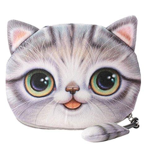 Flauschiger Geldbeutel (Geldbörse/Münzbörse) für junge Frauen & Mädchen/Damenportemonnaie mit süßem Katzenmotiv (Animal Print) inkl. Katzenohren und Schwänzchen (Reißverschluss) (Grau)