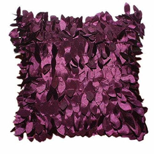Winkey quadratisch Kissenbezug, 43cm * 43cm Home Decor Quadratisch Kissen Bezug Fällen Kissen Blätter Feder, maschinenwaschbar, antiallergen, antibakteriell, Kissen Protektoren, violett, 43cm*43cm