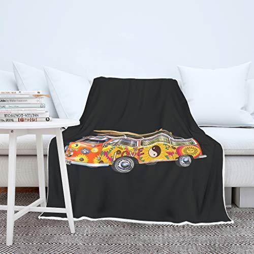 Charzee Peace & Love Car - Manta de Forro Polar de salón y Coral, Ligera Microfibra en Invierno, poliéster, Blanco, 150 x 200cm