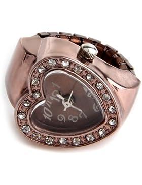 SODIAL(R) 20mm Ringuhr Finger Uhr Fingeruhr Uhrenring Rosengold