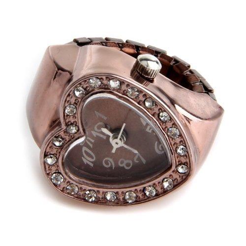 Anillo Reloj Metal Circonita Forma Corazon Oro Rosado