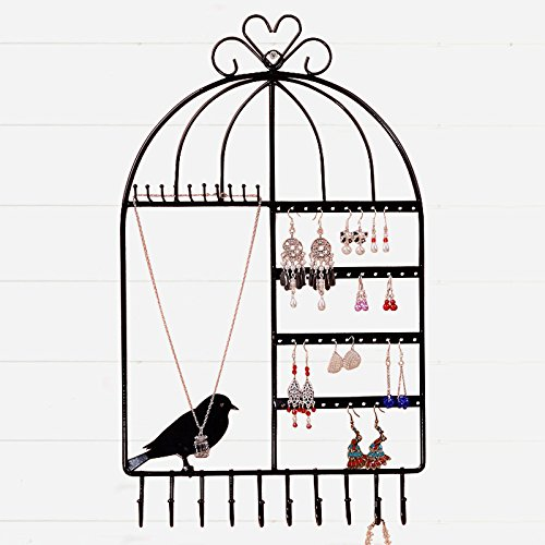 XWB Birdcage Shaped Jewelry Display Rack Organizer Hanging Earring Necklace Holder Necklace Rack (Black)