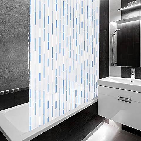 Design Duschrollo Blaues Mosaik | viele Größen | schnelltrocknend | Deckenbefestigung mit Halbkassette | halbtransparent, Mosaik blau | 160x240cm (BxL)