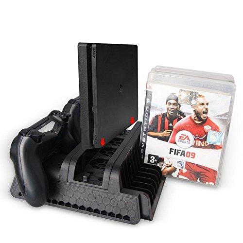 2 Lüftersteuerung (SODIAL Original Vertikalstaender mit Lueftersteuerung Ladestation 2 Port USB Hub Discs Speicher fuer Playstation 4/PS4 Slim/PS4 Pro Konsole (Schwarz))