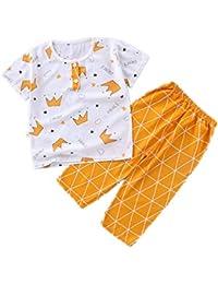 Yying Manga Corta Pyjama Sets Conjuntos de Pijama para Niñas Niño Pijama con Estampado de algodón de Ajuste cómodo de 2 Piezas 90cm-130cm
