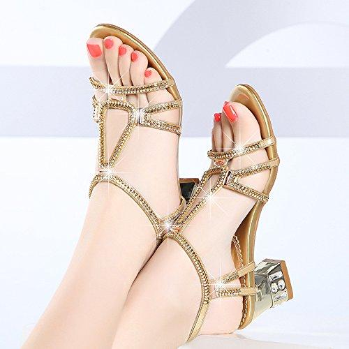 ZYUSHIZ Mme Chaussons Cool High-Heel de diamants synthétiques Texte gras avec Sandales Pantoufles 40EU